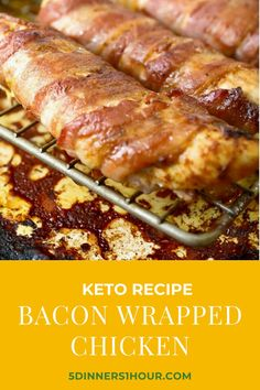 If you are looking for a recipe to fit in your keto diet and to satisfy that bacon craving, give this keto bacon wrapped chicken recipe a try! #chicken #bacon #keto #protein #dinner #recipe Best Low Carb Recipes, Keto Recipes, Cooking Recipes, Favorite Recipes, Bacon Wrapped Chicken, Chicken Bacon, Quick Easy Dinner, Tasty, Yummy Food