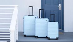 People Are Freaking Out Over This Dreamy Blue Suitcase - travel luggage Hard Suitcase, Suitcase Set, Carry On Suitcase, Best Carry On Luggage, Cute Luggage, Vintage Luggage, Travel Luggage, Travel Bag, Airport Luggage