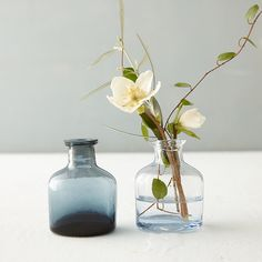 """Oval Inkwell Bud Vase from Terrain. 3""""H, 2.25""""W, 1.75""""L.  Navy or Sky colored glass (sky is the almost clear option on the right) $8 retail + 10% trade discount."""