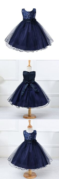 Weixinbuy Kids Girls Sequin Bowknot Sleeveless Summer Wedding Party Dress Dark Blue 8-9Y