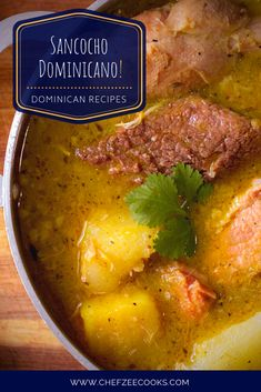 Dominican Sancocho is a classic hearty Dominican Soup that can feed an entire family Sancocho Dominicano is perhaps the most celebrated dish of the Dominican Republic Its. Cuban Recipes, Soup Recipes, Cooking Recipes, Dutch Recipes, Boricua Recipes, Amish Recipes, Spinach Recipes, Cooking Tips, Healthy Recipes