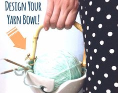 Design Your Handle Yarn Bowl Your Choice Of Colors Porcelain Pottery Yarn Keeper Yarn Feeder Knitting Bowl Stunning Medium  MADE TO ORDER