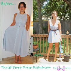 Thrift Store Dress Refashion Before & After via These Two Hands