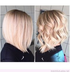 long angled blonde bob with bangs - Google Search