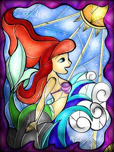 Little Mermaid glass art.