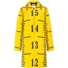 Moschino Printed Jacket ($1,463) ❤ liked on Polyvore featuring outerwear, jackets, coats, moschino, coats & jackets, yellow, long sleeve jacket, moschino jacket, zip front jacket and yellow jacket