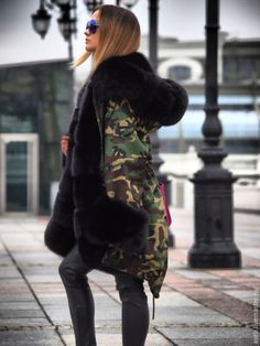 camo parka lined in black fox fur. I need this for my Husband