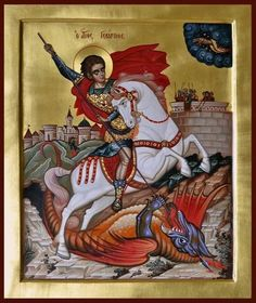 Religious Icons, Religious Art, Saint George And The Dragon, Orthodox Christianity, Orthodox Icons, Saints, Monster, Religion, Fine Art