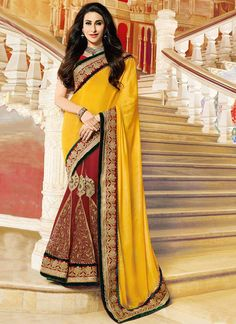 Red N Yellow Karisma Kapoor Half N Half Saree