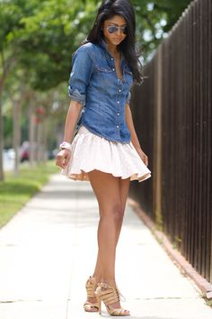One of my favorite ways to wear a dress is with a denim shirt overtop :)
