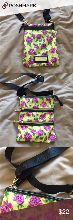 Betsey Johnson Crossbody Bag Super cute yellow with purple roses. Great condition! Betsey Johnson Bags Crossbody Bags