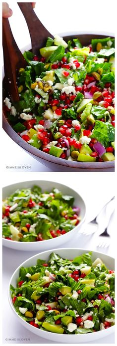 Pomegranate, Pear & Avocado Salad -- fresh, flavorful, and perfect for the holidays! | gimmesomeoven.com