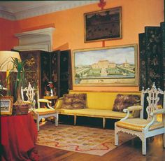 Washington, D.C. Federal-style townhouse of Evangeline Bruce. Gothic armchairs once belonged to Nancy Lancaster. Published AD Sept 1978, Horst photographer