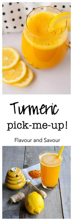 Get the easy recipe for this turmeric, lemon and honey drink that actually tastes delicious! This powerful anti-inflammatory, anti-oxidant Turmeric Pick-Me-up juice also gives you a boost of energy. via @enessman
