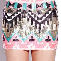 Sequined Southwest Mini Skirt | FOREVER 21 - 2000111641