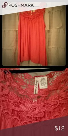 Coral crochet tunic Tunic with crochet at top NWOT Tops Tank Tops