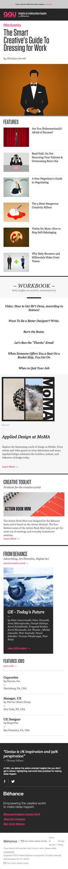 Behance responsive email newsletter design for mobile