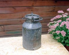 Massive metal milk can with lid  Vintage metal milk by ArtMetBau