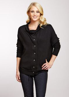 QI  Fold Neck Collar Cardigan