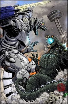 Mechagodzilla vs Kiryu by KaijuSamurai