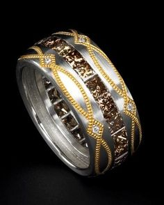 Zoltan David  Natural Cognac Diamond Eternity Band in Platinum with 24K Gold Inlay Ring