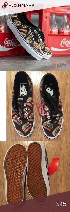 ✨JAL SALE✨ Vans Authentic Hamburger Sneakers Give in to your favorite late night craving in the form of these sweet sneakers by Vans. The Late Night Authentic Shoes have a signature rubber waffle outsole and an allover, junk-food-inspired burger print. ✨Printed canvas upper ✨Low profile shoe, lace front ✨Vans logos on side and rear ✨Metal eyelets ✨Signature rubber waffle outsole. $45 Vans Shoes Sneakers