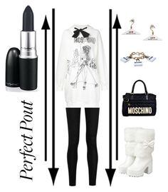 """""""A Moschino kinda day! perfect pout contest"""" by im-karla-with-a-k ❤ liked on Polyvore featuring Moschino, M.A.C and Donna Karan"""