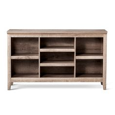 Books, CDs, DVDs, and more can be stored and displayed with the Carson Horizontal Bookcase from Threshold. This large, sturdy piece of furniture features adjustable shelving. The clean, straight lines add to your home décor and will be a treasured piece for years to come.