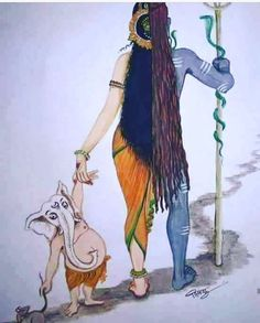 Ardhanarishvara and Ganesha Equality in gender b Shiva Art, Shiva Shakti, Krishna Art, Hindu Art, Lord Ganesha Paintings, Lord Shiva Painting, Ganesha Drawing, Ganesha Art, Shiva Sketch