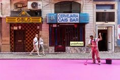 Rua cor-de-rosa de Lisboa- pink street in Lisbon, in front of the Oslo Bar.