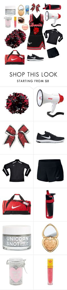 """""""Cheer Uniform (Girl's)"""" by whengaypigsfly ❤ liked on Polyvore featuring Pyle, NIKE, Too Faced Cosmetics, Forever 21 and Jeffree Star"""