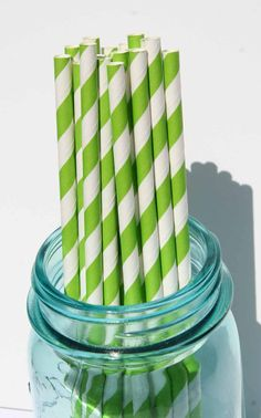 SALE Paper Straws 25 Lime Green Striped Paper by Glued2Paper