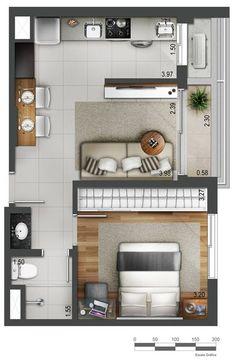 Small Studio Apartment Layout Design Ideas - home design Small Floor Plans, Small House Plans, House Floor Plans, Studio Apartment Floor Plans, Studio Apartment Design, Studio Apartments, Apartment Ideas, Small Room Design, Tiny House Design