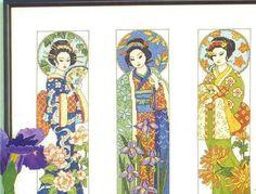 Estas geishas, las puedes hacer independientes y ponerlas en el mismo  cuadro, o hacer 3 cuadritos independientes. El resultado como veis es...