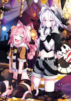 Astolfo and Astolfo Alter preparing for Halloween Anime Neko, Kawaii Anime Girl, Anime Art, Anime Halloween, Fete Halloween, Halloween 2020, Character Concept, Character Art, Astolfo Fate