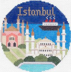 "Silver Needle Istanbul handpaint 4.25"" Rd. Needlepoint Canvas Ornament"