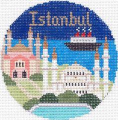 "Silver Needle Istanbul handpaint 4.25"" Rd. Needlepoint Canvas Ornament"