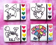 Paint Your Own Valentine hand decorated cookies Galletas Cookies, Cute Cookies, Cupcake Cookies, Iced Sugar Cookies, Sugar Cookie Royal Icing, Valentines Day Cookies, Birthday Cookies, Holiday Cookies, Cookie Designs