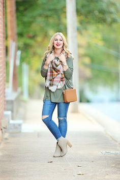 Piko Season + A Palm Beach Tan Giveaway #fall #outfit #plaid #blanketscarf #grey #booties #michaelkors #purse