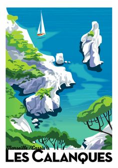 Illustration by Richard Zielenkiewicz, Les Calanques. - Illustration by Richard Zielenkiewicz, Les Calanques. New to Mobile Video Studio? Tourism Poster, Poster Ads, Travel Ads, Travel Photos, Beach Posters, Kunst Poster, Poster Design, Vintage Travel Posters, Illustrations And Posters