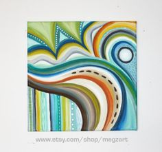 12 x 12 Original Abstract Acrylic Painting Cascade by MegzArt, $26.00