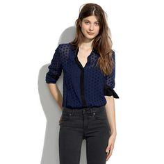 sheer silk velvetdot shirt – Madewell