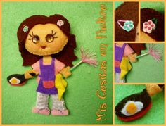 MONIGOTA AMA DE CASA EVA (BROCHE DE FIELTRO) Softies, Kids Rugs, Animal, Board, Decor, Feltro, Felt Brooch, Diy Art, Housewife