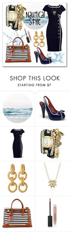 """Nautical Style"" by starlingwriter ❤ liked on Polyvore featuring Pinup Couture, Retrò, La Mer, Ciner, Blue Nile, ALDO, Burberry and vintage"