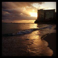 Sunset Waikiki beach 2013