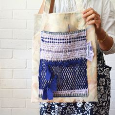 Lavender Indigo Woven Shoulder Tote Large Pocket Fabric Upcycled Wabisabi Australian Winter - May Minimum - Upholstery Carpet Rug Bag — JuanitaTortilla
