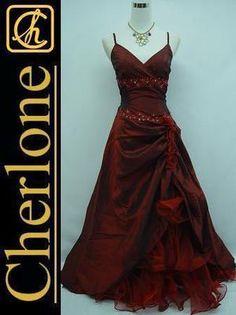 Cherlone Satin Burgundy Long Prom Ball Gown Wedding/Evening Dress UK Size 8-10