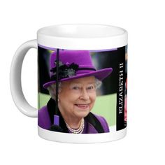 Queen Elizabeth of England Mugs   -  Visit my Zazzle Store for more Great Gift Ideas - http://www.zazzle.com/cdandc - #royalfamily #british #gifts #will #kate #mug #souvenir #queen #elizabeth