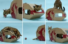 the artwork on this is precious , my cats would have had  to approve it since they were art connoisseurs!!    Cat Caravan Sturdy Cardboard Playhouse & Hideaway
