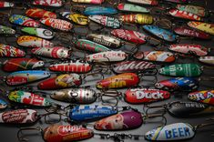https://flic.kr/p/68TndB | Small Version Recyclures | Surely a suggestion of consumerism and implications of marketing ploys in our society.   Beyond that, tokens, mementos, object d'art,  nostalgia, you name it... Comprised of jar lids, old beer cans, various tins, gas cans, coffee cans, etc, and copper.
